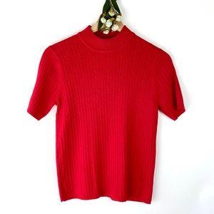 Laura Scott Red Short Sleeve Mock Neck Sweater